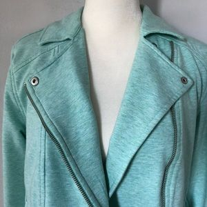 H By Halston French Terry Moto Jacket - Mint Green